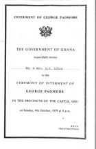 Invitation and Program from Government of Ghana to Mr. and Mrs. D. W. Lucas, re: Ceremony of Interment of George Padmore, October 4, 1959