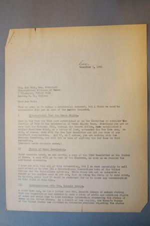 Letter from Frieda Miller to Amy Bush, December 8, 1966
