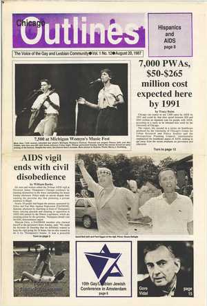 Chicago Outlines The Voice of the Gay and Lesbian Community Vol. 1 No. 12 August 20, 1987