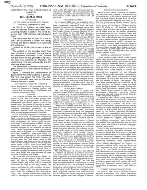 Congressional Record - Hon. Frank R. Wolf Of Virginia Speaking To The House About The Human Rights Crisis In Darfur, September 09, 2004