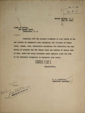 Letter from C. A. McIlvaine to Chief of Office, The Panama Canal, July 14, 1925