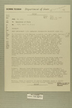 Telegram from Edward B. Lawson in Tel Aviv to Secretary of State, April 15, 1956