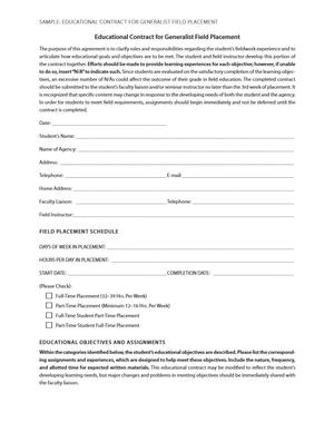 Sample: Educational Contract for Generalist Field Placement