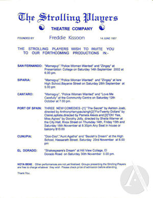 Playbill for God and Uriah Butler by Freddie Kissoon, City Hall, Port of Spain, Trinidad, July 11-13, 2002. Directed by Freddie Kissoon