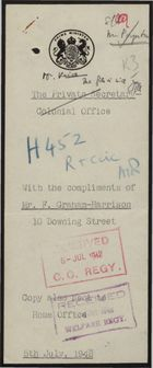 Report Cover Sheet from Mr. F. Graham-Harrison