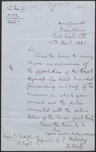 [Copy of] Letter from G. J. Wolesley to Major J. C. Ardagh, Dec. 12, 1881