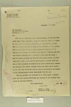 Letter from Newton D. Baker to Secretary of State, Sept. 29, 1919