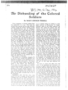 The Disbanding of the Colored Soldiers