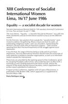 XIII Conference of Socialist International Women, Lima, 16-17 June 1986