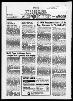 Cheese Reporter, Vol. 119, no. 9, September 16,  1994