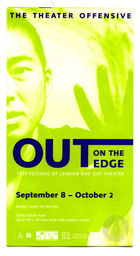 Brochure for the Theater Offensive's Out on the Edge Festival of Gay and Lesbian Theater, featuring Hello (Sex) Kitty by Denise Uyehara, September 8-October 2, 1999, Boston, MA.