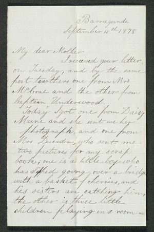 Letter from Edith Anderson to My dear Mother, September 4, 1878