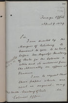 Letter from T. H. Sanderson to Under Secretary of State, Colonial Office, re: Affairs at Panama, with Enclosures from Admiralty, April 9, 1889