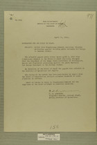 Memo from E. D. Anderson re: Letter from Congressman Sumners Enclosing Telegram Protesting Against Building Adobe Barracks for Troops on Mexican Border, April 12, 1919