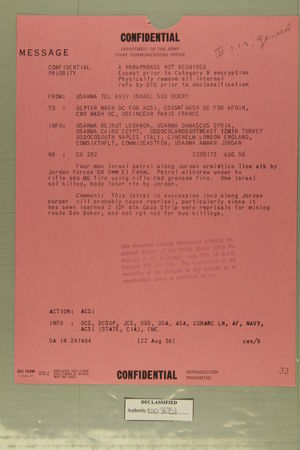 Confidential Message from USARMA Tel Aviv Israel, SGD Query, to DEPTAR Wash DC for ACSI et al, August 22, 1956