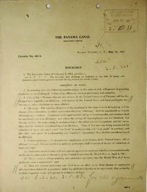 Circular from Jay J. Morrow, Panama Canal Executive Office, re: Discharge of Employees, May 18, 1921
