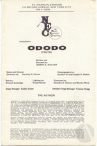 Playbill for Ododo by Joseph A. Walker, produced by the Negro Ensemble Company at the St. Mark's Playhouse, New York, 1970. Directed by Joseph A. Walker