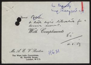 Business Card of Mr. A. E. V. Barton, West India Committee, October 8, 1959