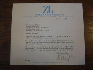 Alvin B. Zeller to Stanley Milgram, October 6, 1966