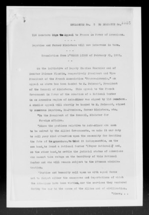 116 Senators Sign the Appeal to France in Favor of Armenians.