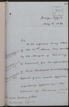 Letter from T. H. Sanderson to Under Secretary of State, Colonial Office, re: Admiralty Reports from Isthmus of Panama, May 8, 1889