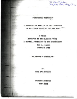 An Experimental Analysis of the Variations In Efficiency Following the Noon Meal: A Thesis Submitted to the Graduate School In Partial Fulfillment of the Requirements for the Degree Master of Arts