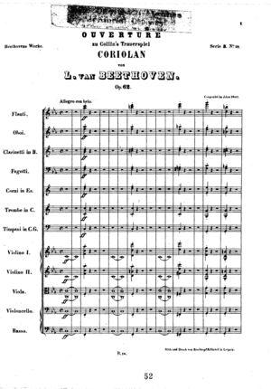 Overture zu Colin's Trauerspiel Corolian