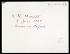 1 envelope to R.R. Marett, 5 June 1922