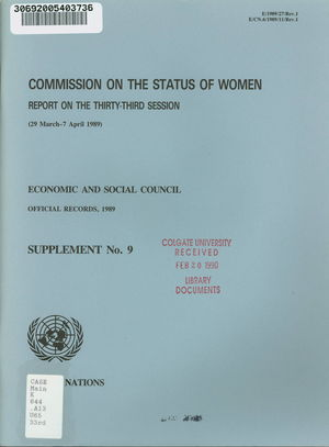 Report on the 33rd Session, 29 March-7 April 1989