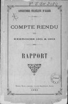 Compte Rendu des Exercices 1901 & 1902 / Consistoire Israélite d'Alger. Rapport / de M. D. L. Valensi