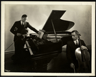 Blind woman, Miss Harding, at the piano instructing two blind men on the violin and cello, 1936 (silver gelatin print)