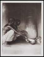 2 figures squatting before 3 bowls and a storage jar inside a building