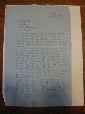 Robert Frager to Stanley Milgram, March 17, 1966