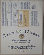 American Medical Association Membership Certificate, 1985