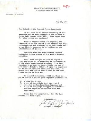 Philip J. Zimbardo to Subjects, 1971-1973