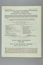 Call to the Eleventh Congress of the International Alliance of Women for Suffrage and Equal Citizenship, Berlin, 17-22 June 1929