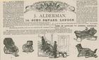 Advert for J Alderman, manufacturer of invalid carriages (engraving)