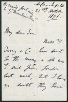 Letter from James Winter to Samuel Pratt Winter, October 21, 1876