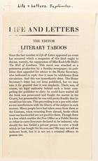 The Editor, Literary Taboos