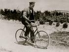 Crippled German soldier on bike (photo)
