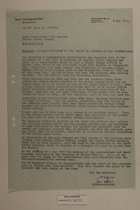 Memo from Dr. Riedl re: Alleged Violation of the Border by Members of the Constabulary, May 8, 1951