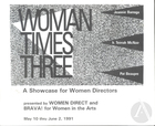 Program for Woman Times Three, featuring Kenny Was A Shortstop by Jeannie Barroga.  Production by Woman Direct and Brava! For Woman In The Arts consisted of three one-act plays showcasing women directors from May 10 through June 2, 1991.