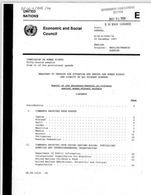Report of the Secretary-General on Violence Against Women Migrant Workers