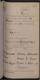 Correspondence re: Stickerei Feldmuhle's Cheque to Messrs. Reuben and Allen of Jamaica, July 27-August 4, 1916