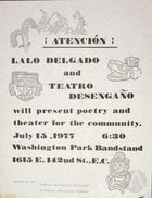 Flyer for Teatro Desengano del Pubelo and Lalo Delgado, Illinois, 1977.