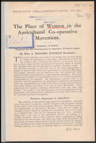 The Place of Women in the Agricultural Co-Operative Movement: Summary of Report Prepared for the International Co-Operative Women's Guild