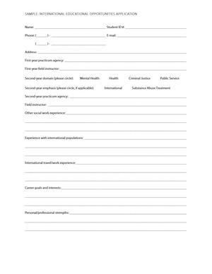 Sample: International Educational Opportunities Application