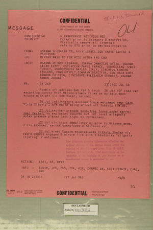 Confidential Message from USARMA & USAIRA Tel Aviv, Israel to DEPTAR Wash DC for ACSI AFOIN and CNO, July 27, 1956