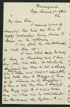 Letter from Robert Anderson to Edith Thompson, April 7, 1892