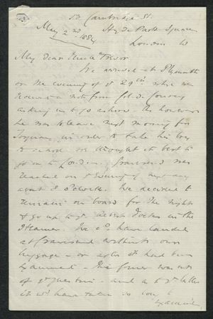 Letter from Samuel Winter Cook to My Dear Uncle Trevor, May 2, 1884